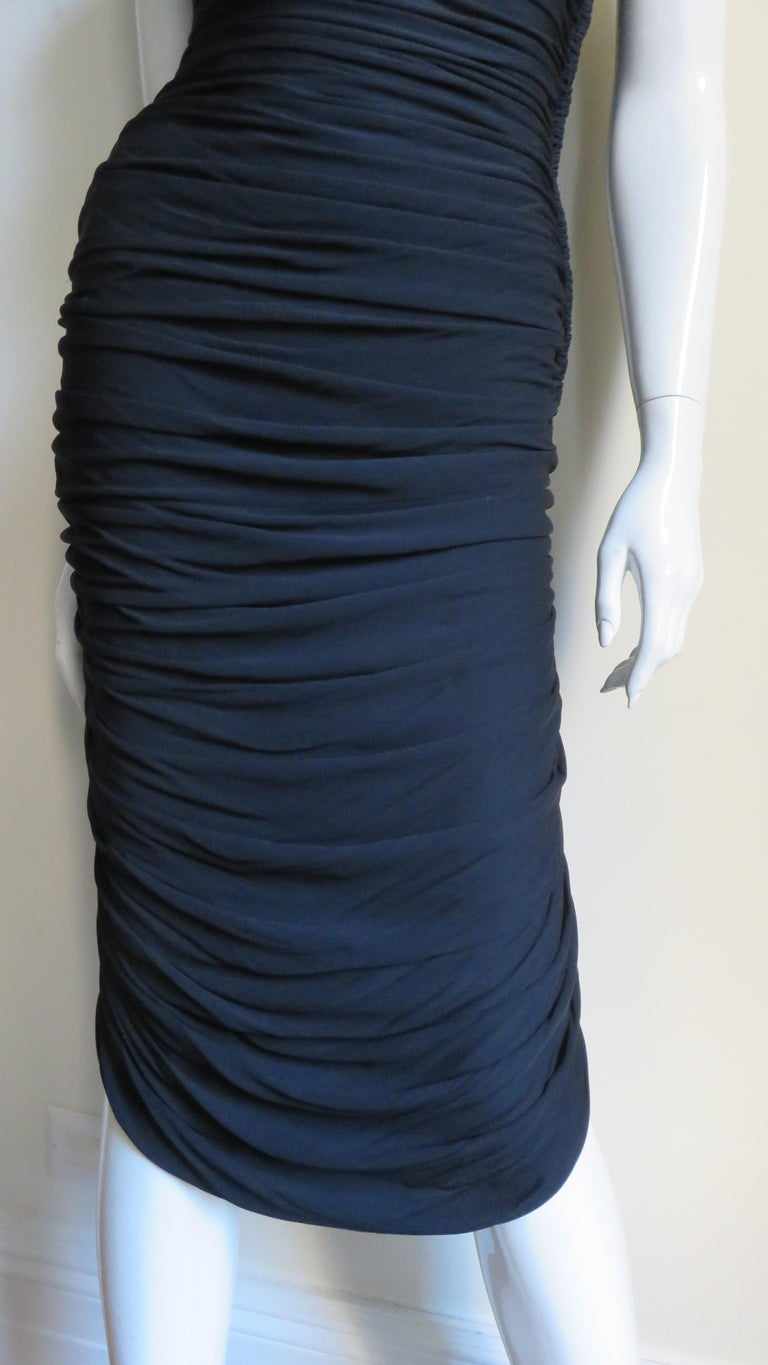 Women's Vicky Tiel 1980s Strapless Ruched Dress For Sale