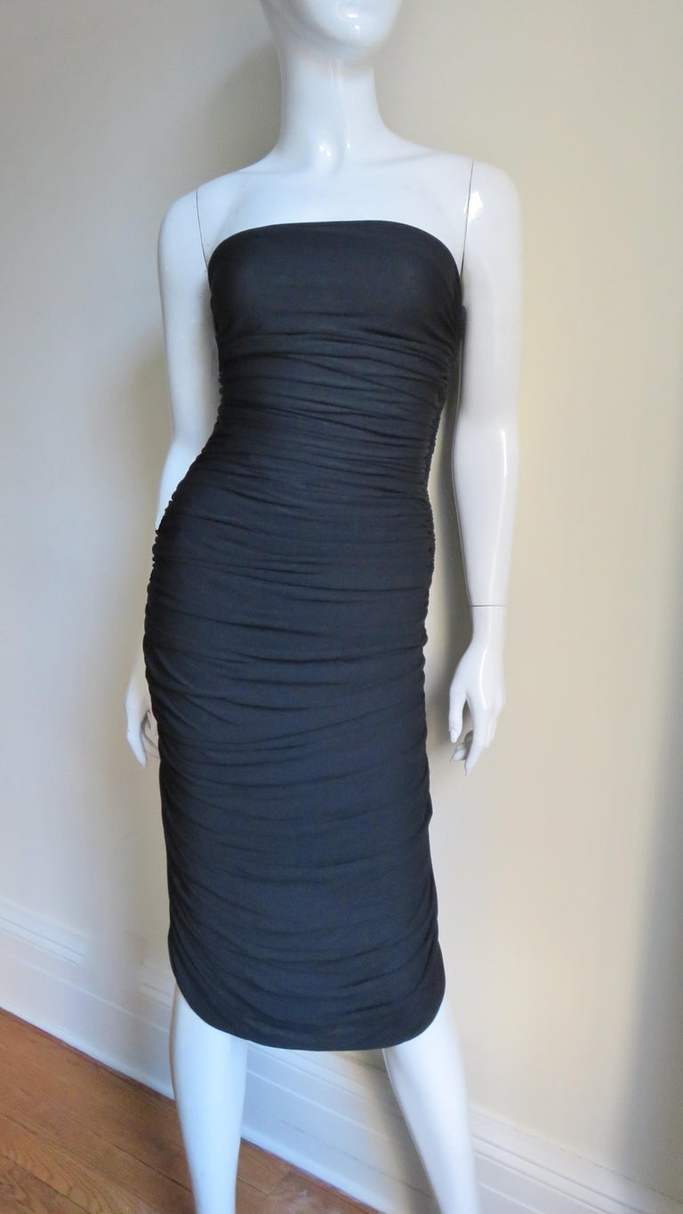 Vicky Tiel 1980s Strapless Ruched Dress For Sale 1