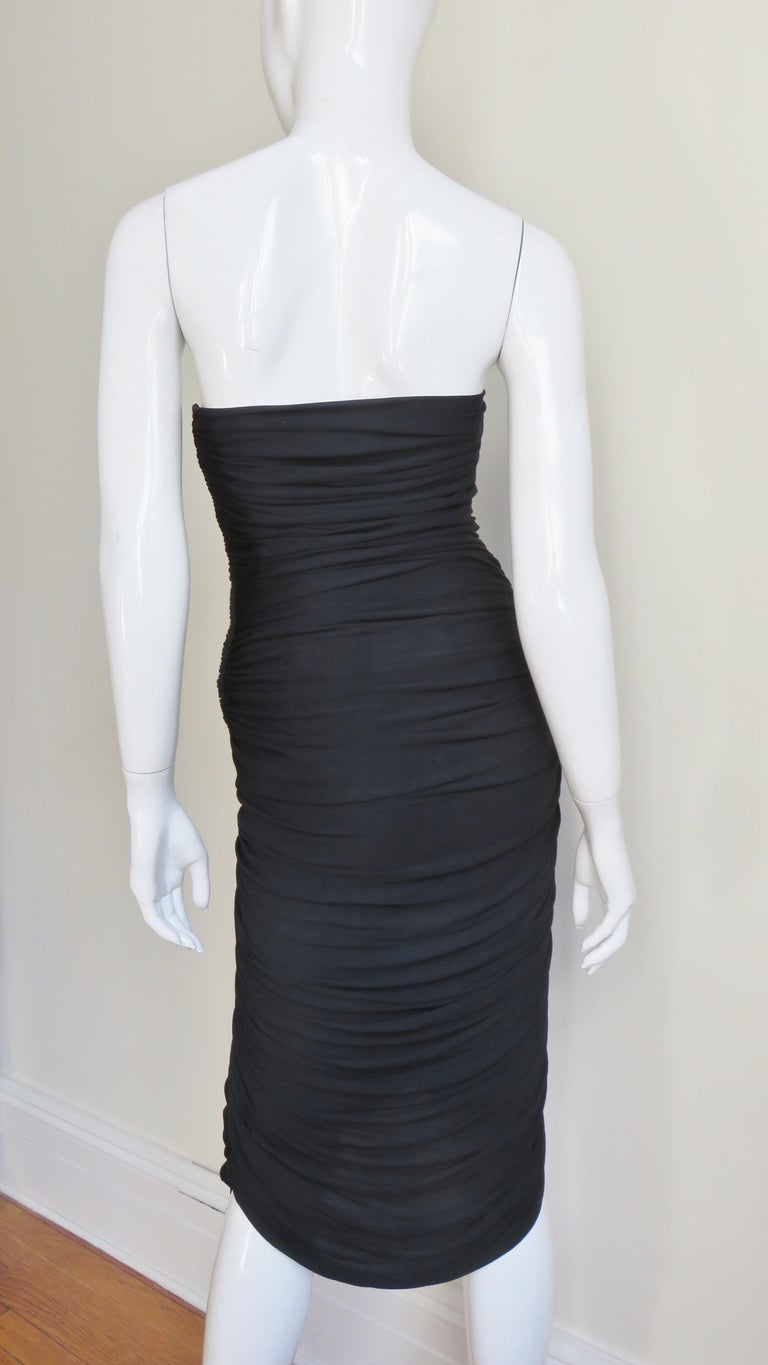 Vicky Tiel 1980s Strapless Ruched Dress For Sale 6