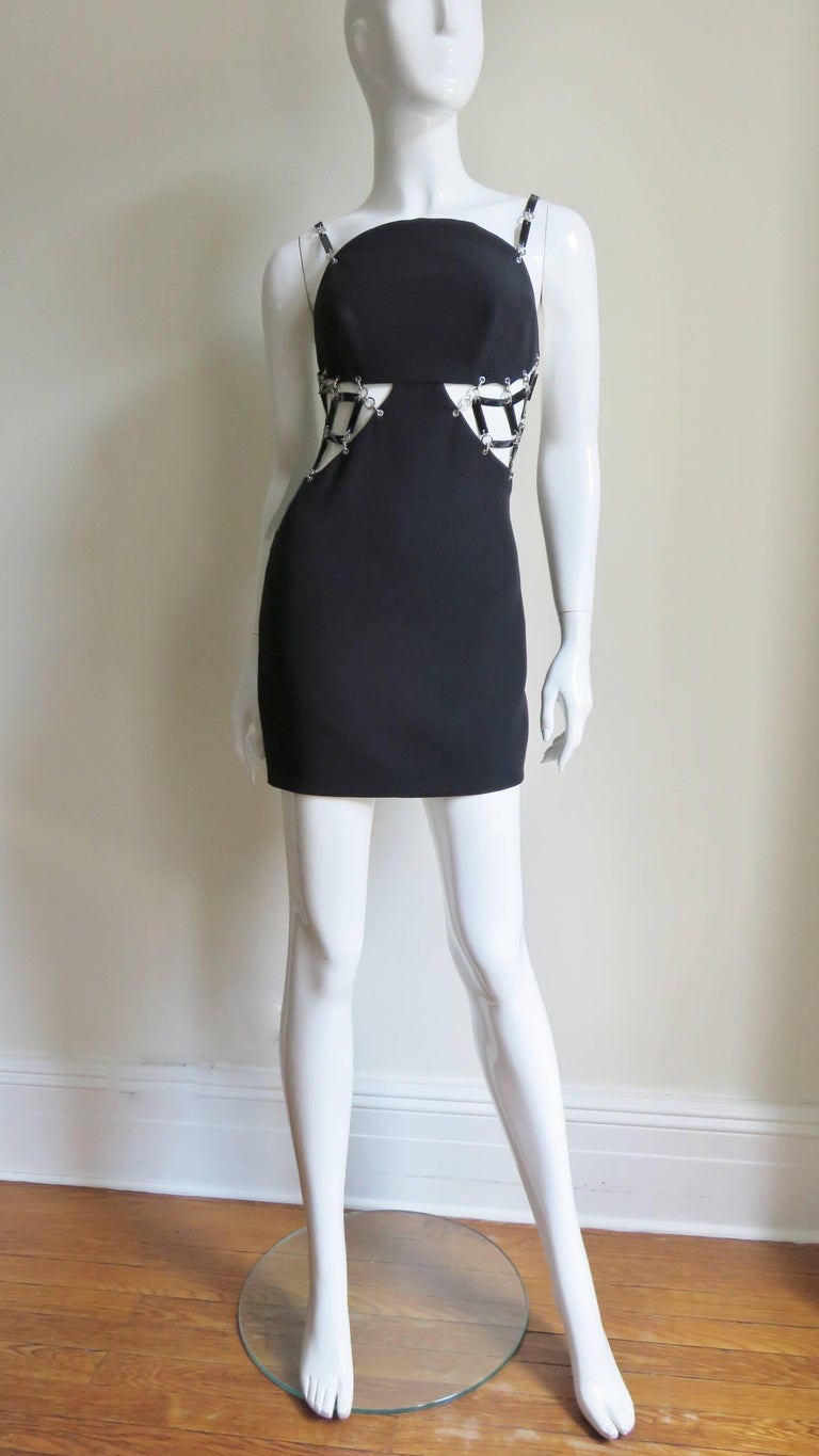 Versace Silk Dress with Metal Link Cutouts For Sale 5