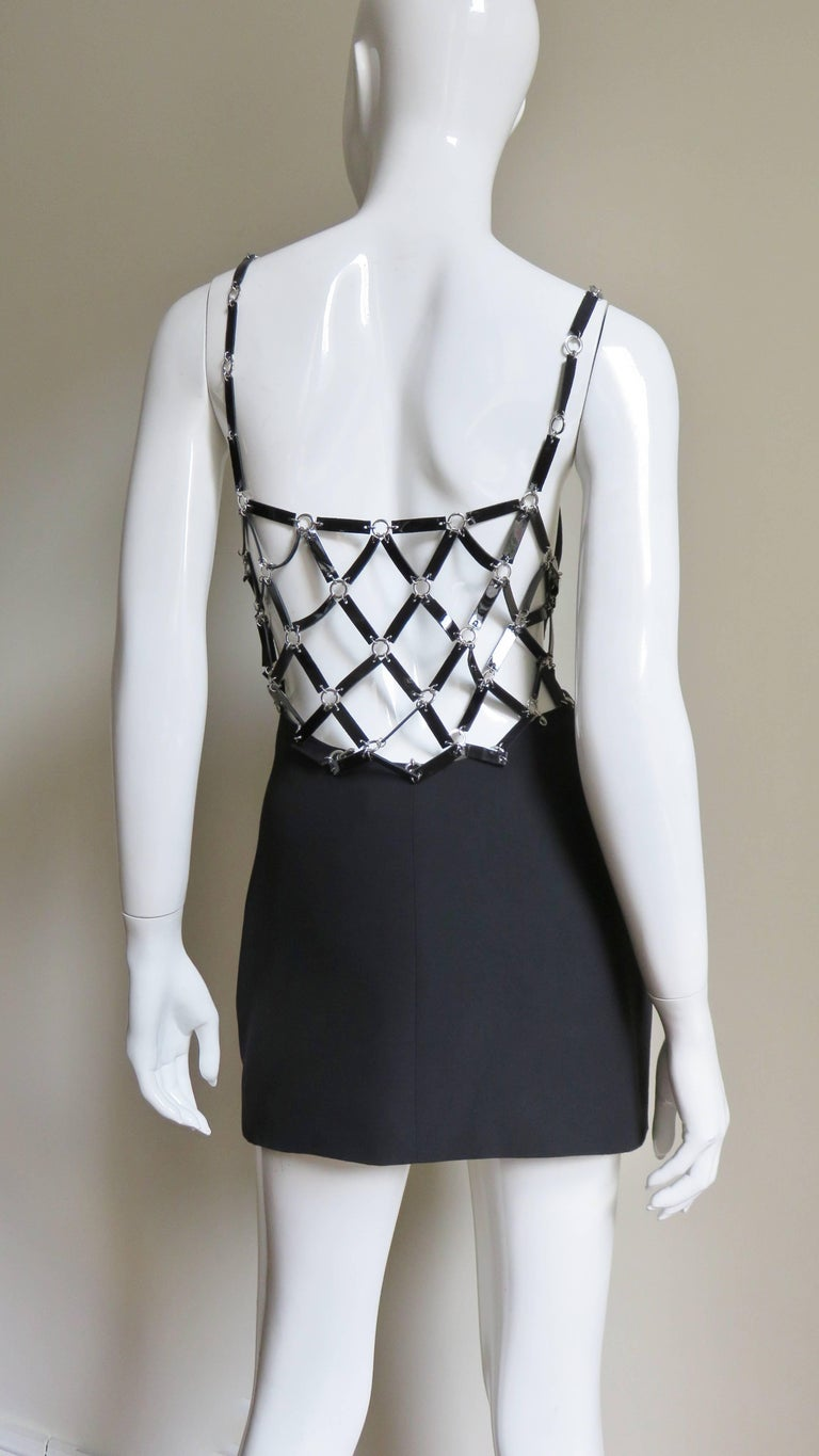 Versace Silk Dress with Metal Link Cutouts For Sale 7