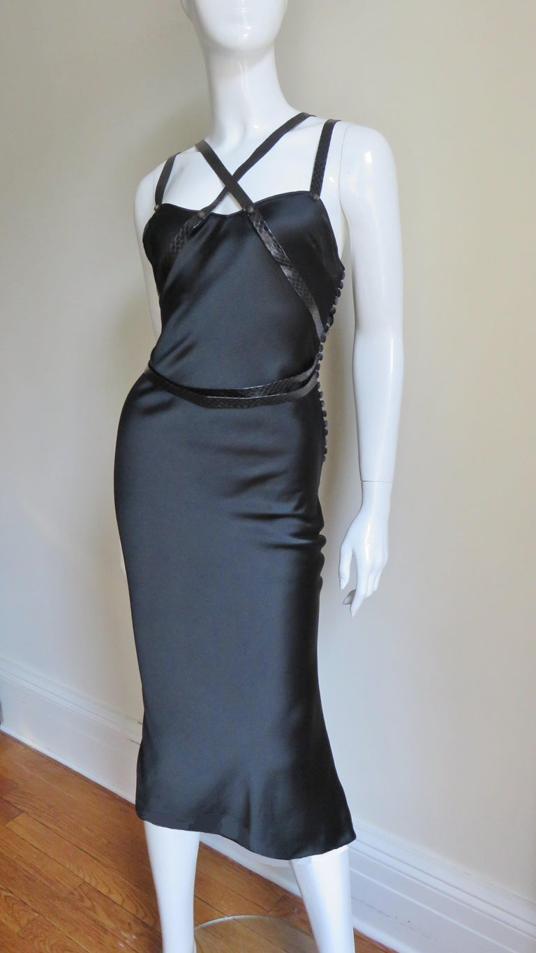 Black Christian Dior Silk Dress with Harness For Sale