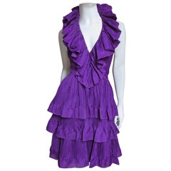 John Galliano for Christian Dior 2009 Plunge Silk Ruffle Halter Dress