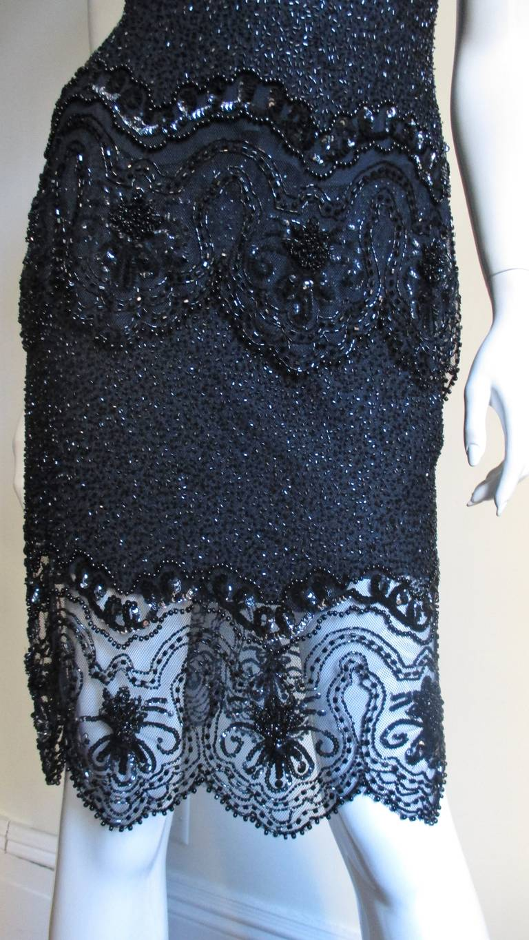 Fabrice Couture Beaded Camisole and Skirt Set 1990s For Sale 2