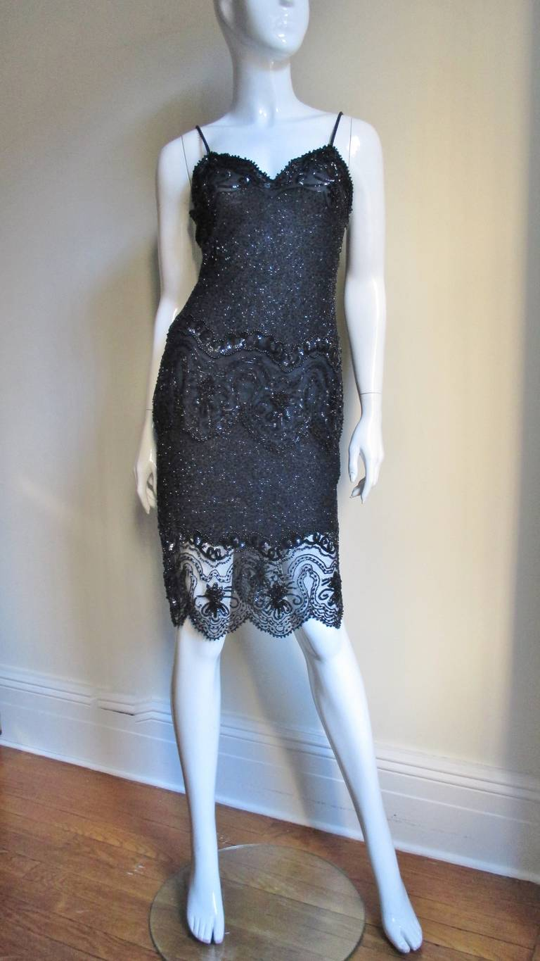 Fabrice Couture Beaded Camisole and Skirt Set 1990s For Sale 4