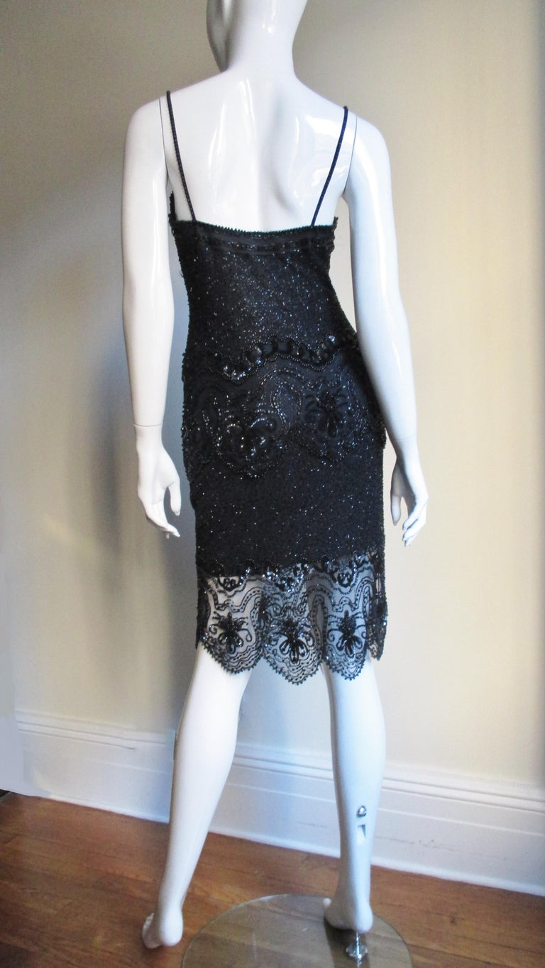 Fabrice Couture Beaded Camisole and Skirt Set 1990s For Sale 8