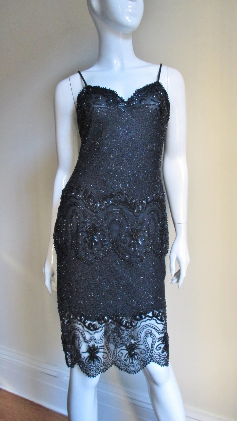 Fabrice Couture Beaded Camisole and Skirt Set 1990s For Sale 3