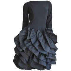 1950s Betty Carol Sculptural Ruffle Dress