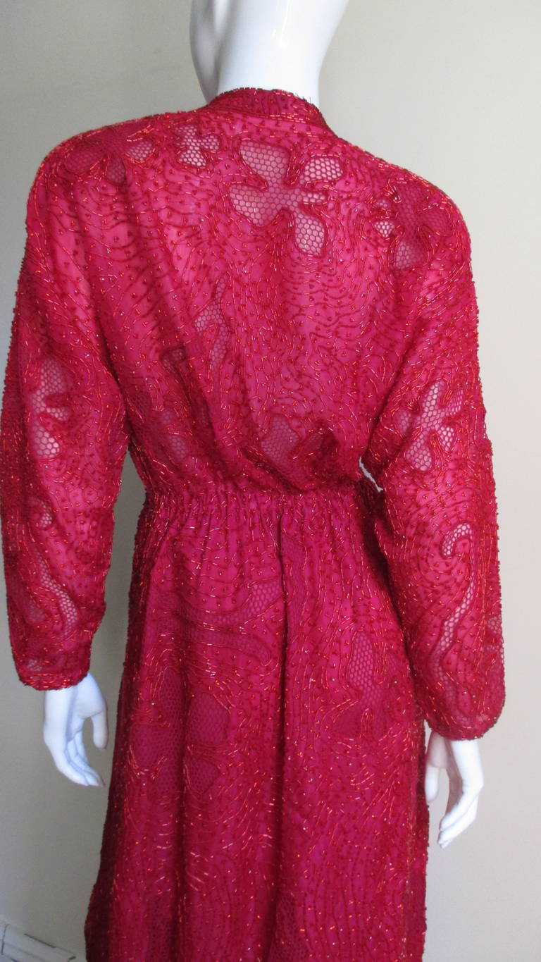 Halston Beaded 1970s Wrap Plunge Gown For Sale 6