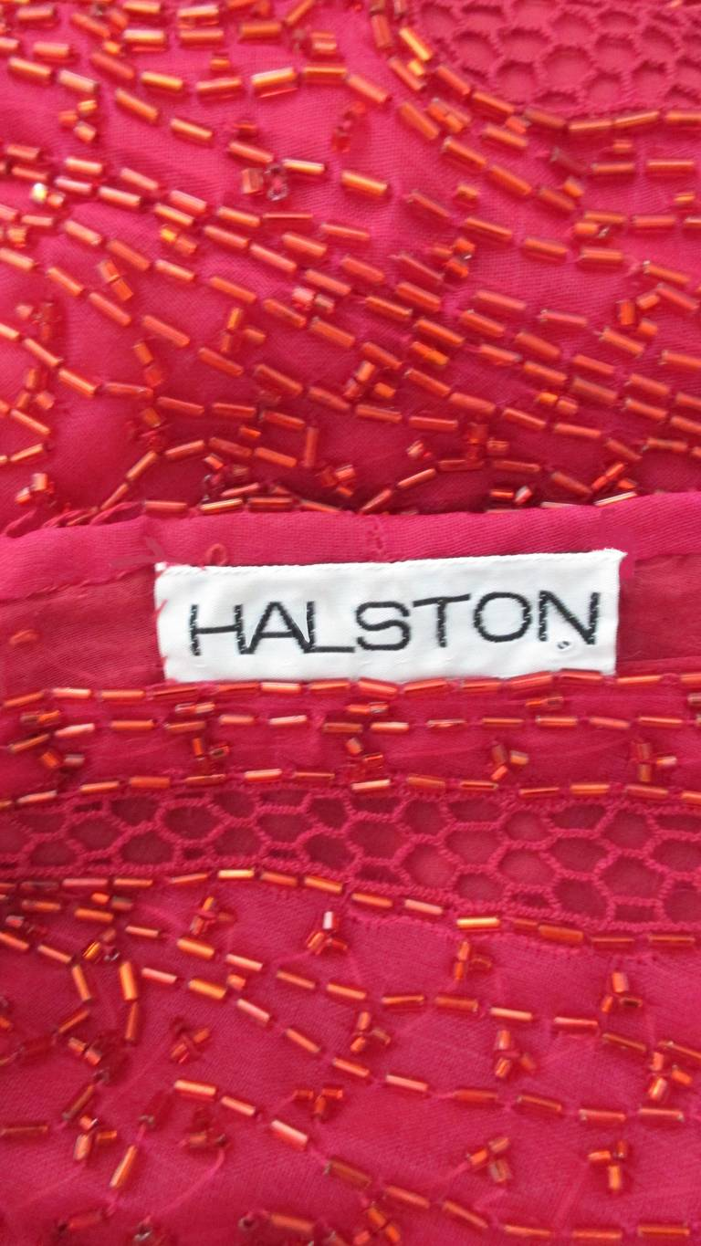 Halston Beaded 1970s Wrap Plunge Gown For Sale 9