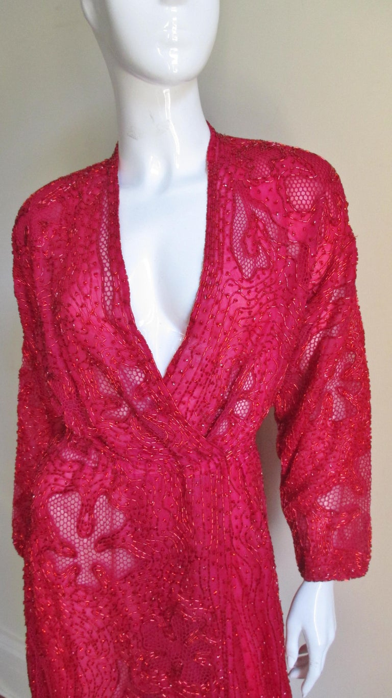 Women's Halston Beaded 1970s Wrap Plunge Gown For Sale