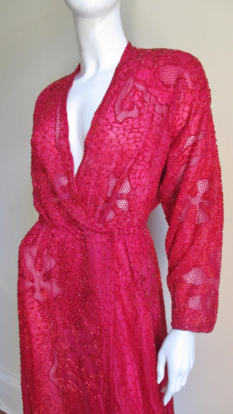 Red Halston Beaded 1970s Wrap Plunge Gown For Sale