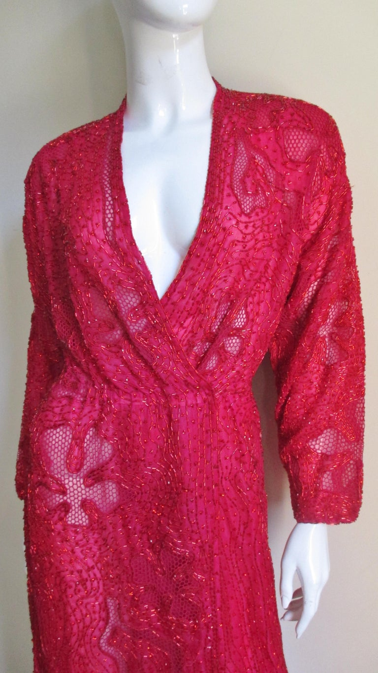 Halston Beaded 1970s Wrap Plunge Gown In Good Condition For Sale In Watermill, NY