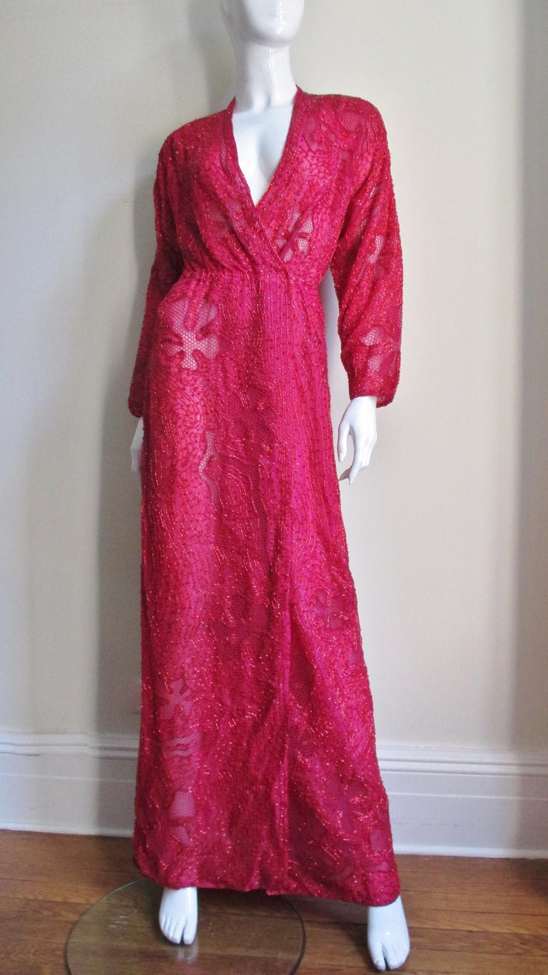 Halston Beaded 1970s Wrap Plunge Gown For Sale 3