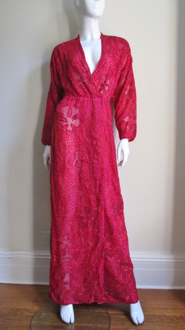 Halston Beaded 1970s Wrap Plunge Gown For Sale 4
