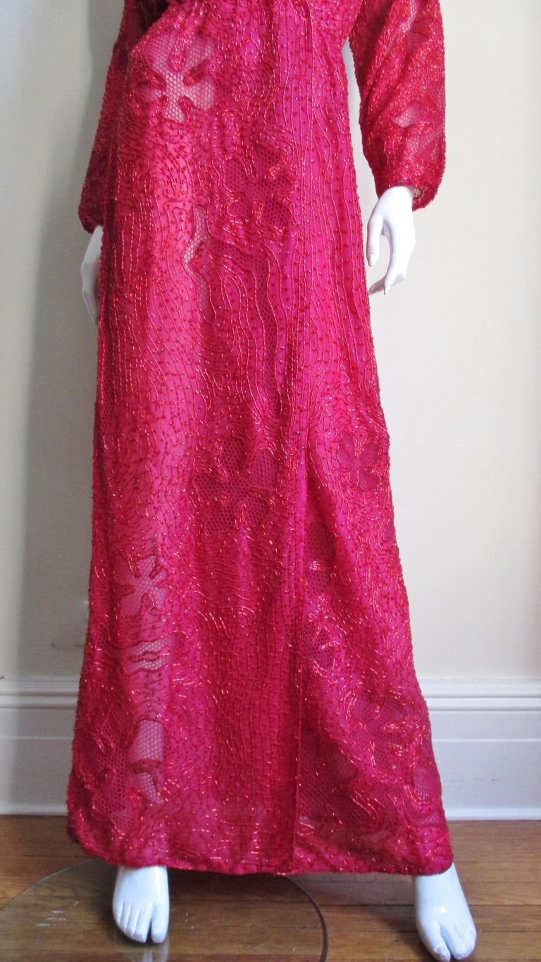 Halston Beaded 1970s Wrap Plunge Gown For Sale 1