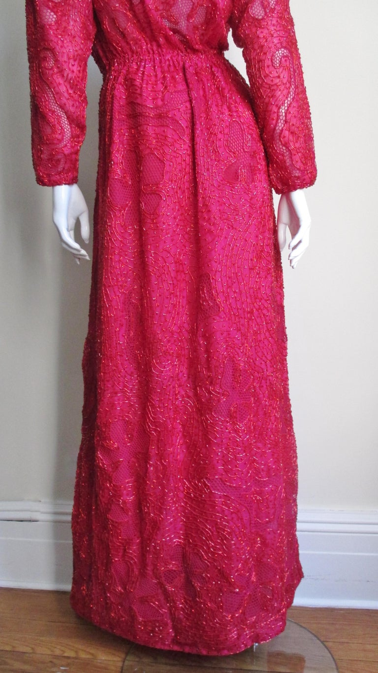 Halston Beaded 1970s Wrap Plunge Gown For Sale 7
