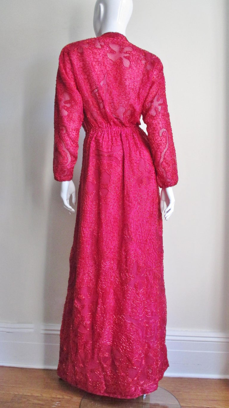 Halston Beaded 1970s Wrap Plunge Gown For Sale 8