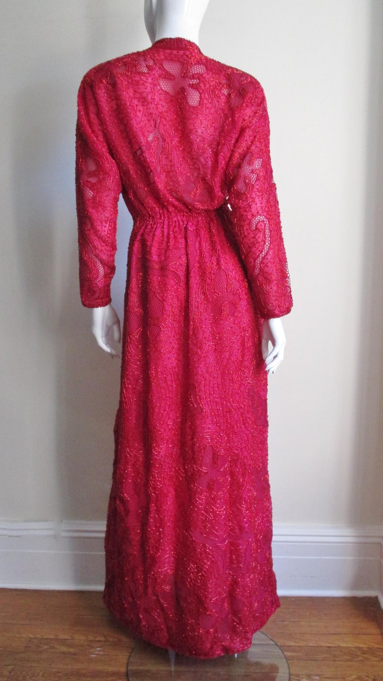 Halston Beaded 1970s Wrap Plunge Gown For Sale 5