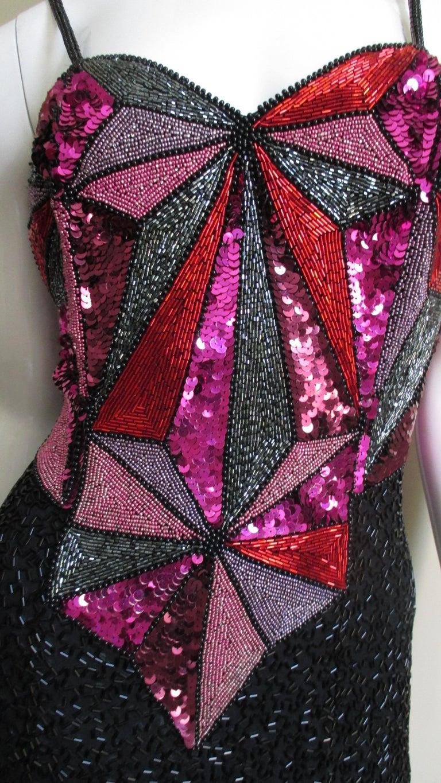 1980s Christian Lacroix Color Block Beaded Silk Dress For Sale 2
