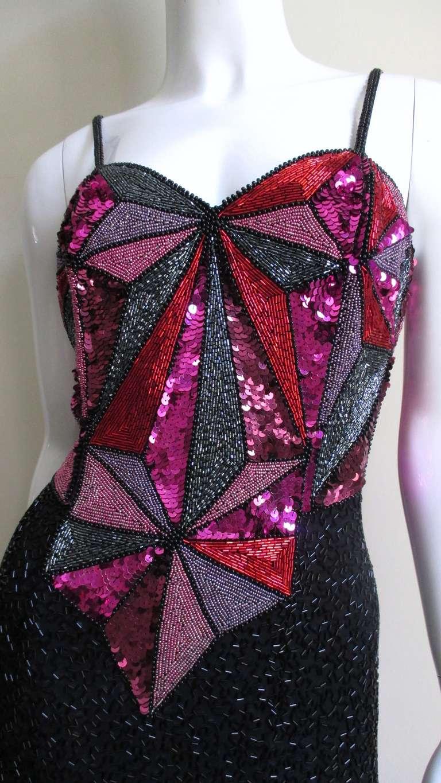 1980s Christian Lacroix Color Block Beaded Silk Dress For Sale 1