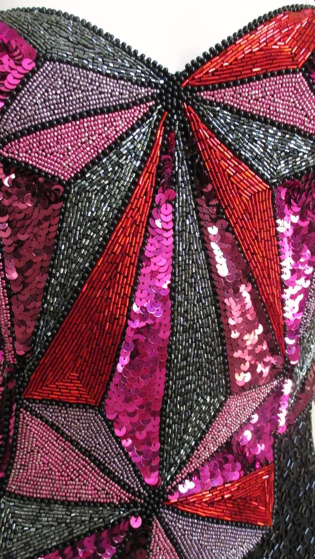 1980s Christian Lacroix Color Block Beaded Silk Dress For Sale 4