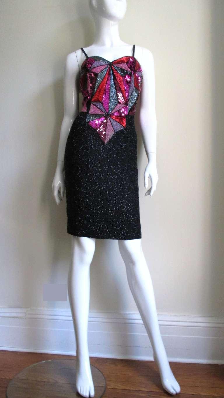 1980s Christian Lacroix Color Block Beaded Silk Dress For Sale 8