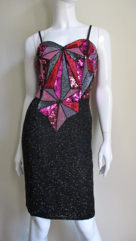 1980s Christian Lacroix Color Block Beaded Silk Dress For Sale 6