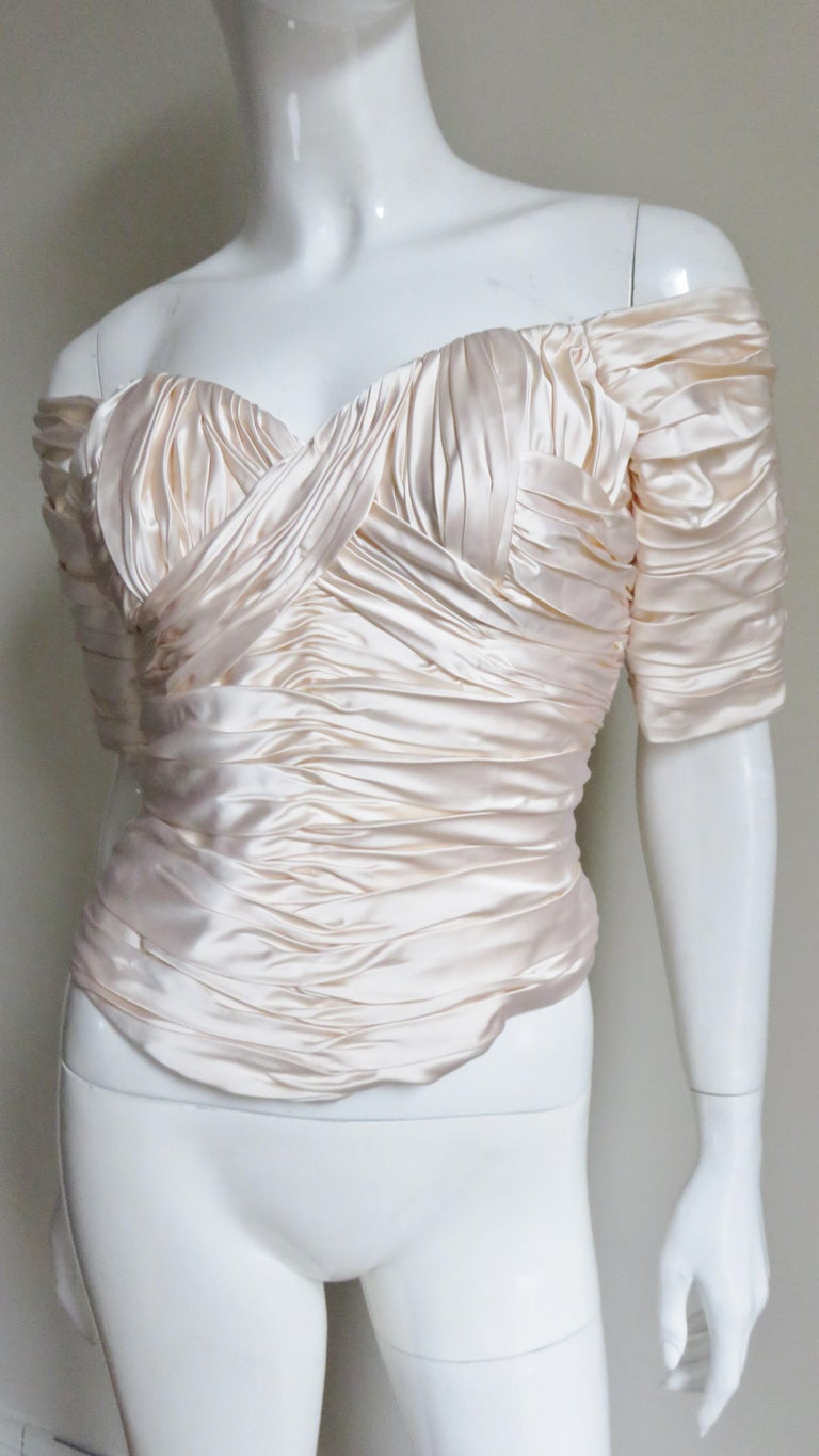 Gray  Vicky Tiel Couture Silk Ruched Corset Top  For Sale