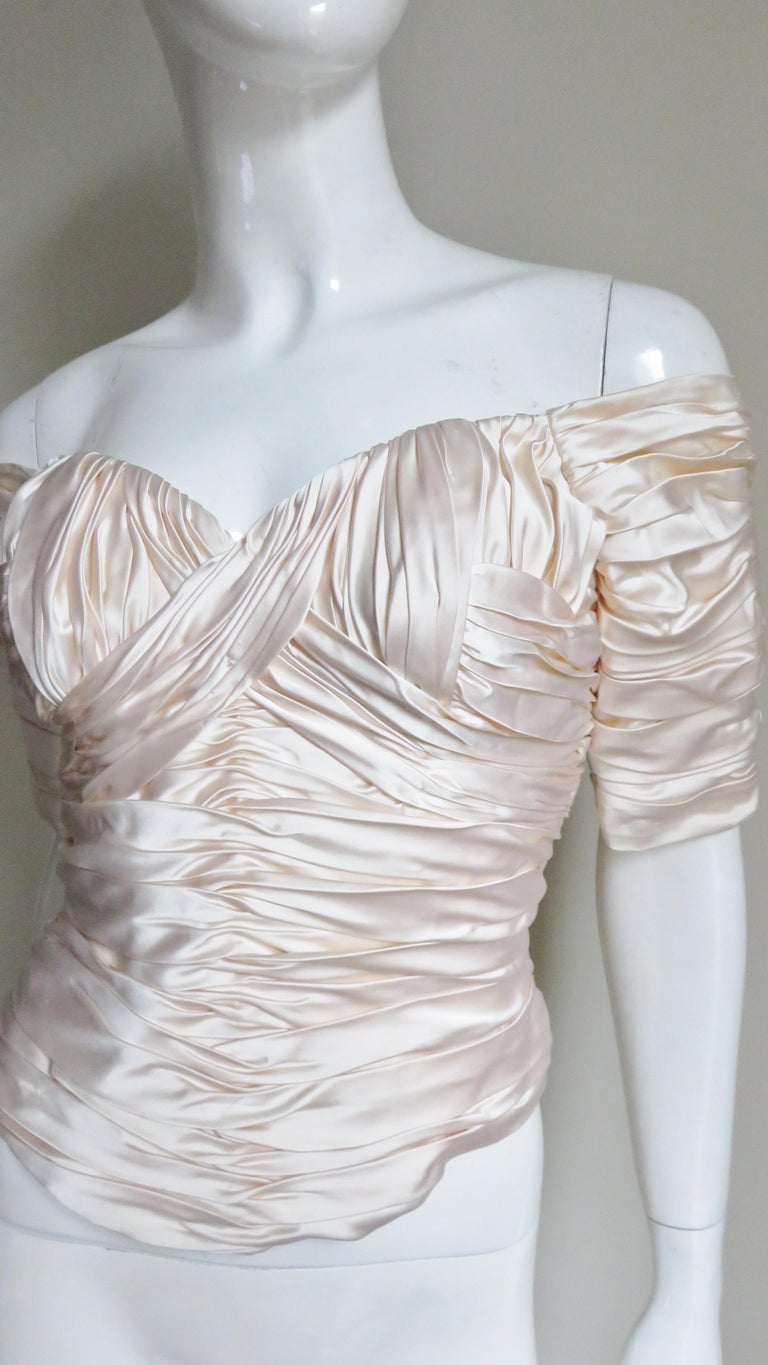 Vicky Tiel Couture Silk Ruched Corset Top  In Good Condition For Sale In Water Mill, NY
