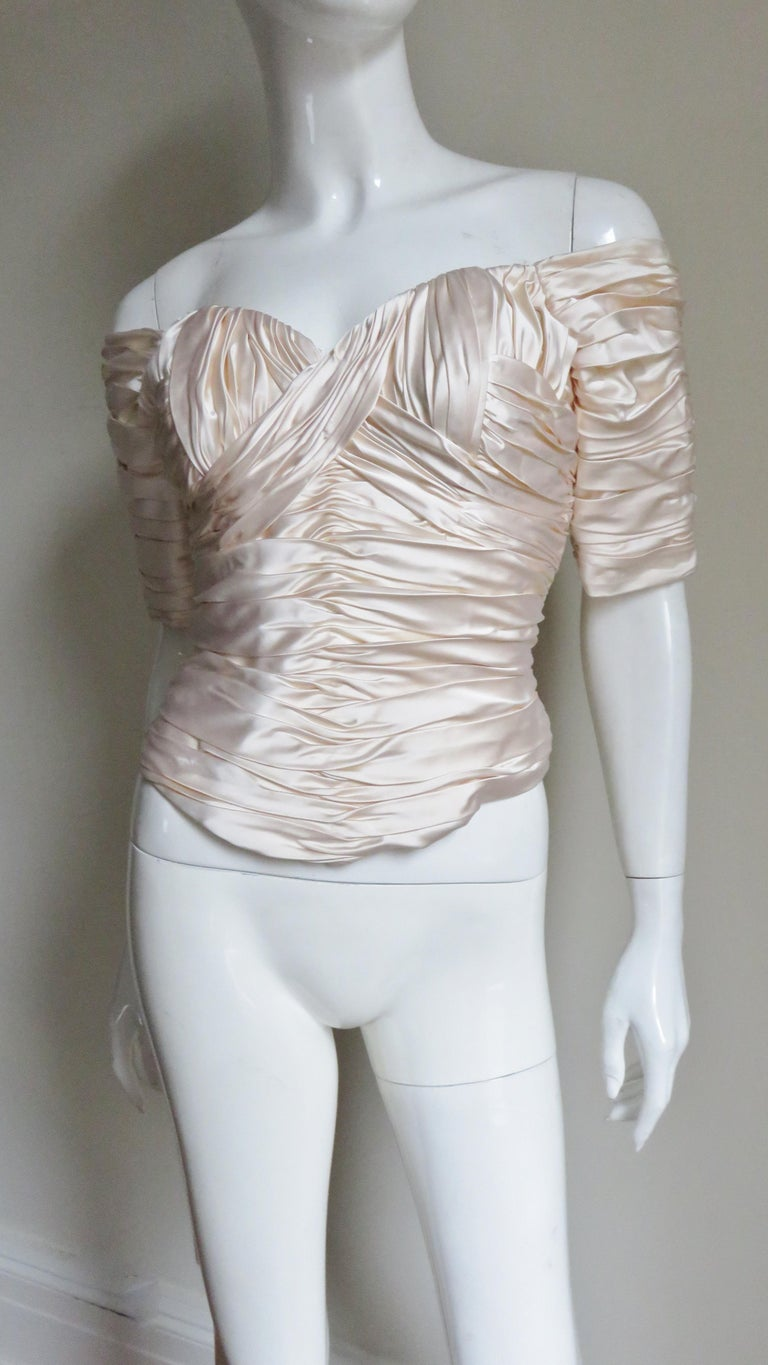 Vicky Tiel Couture Silk Ruched Corset Top  For Sale 1