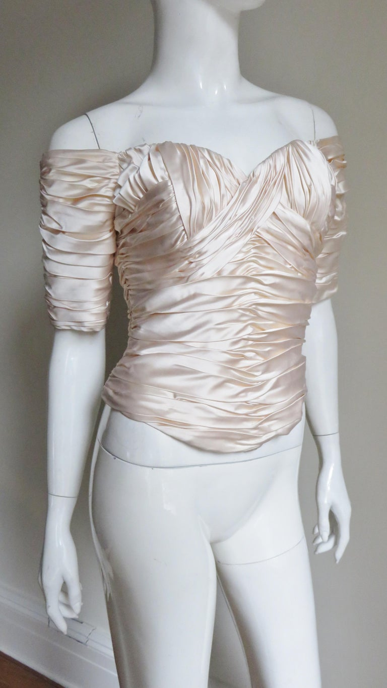 Vicky Tiel Couture Silk Ruched Corset Top  For Sale 2