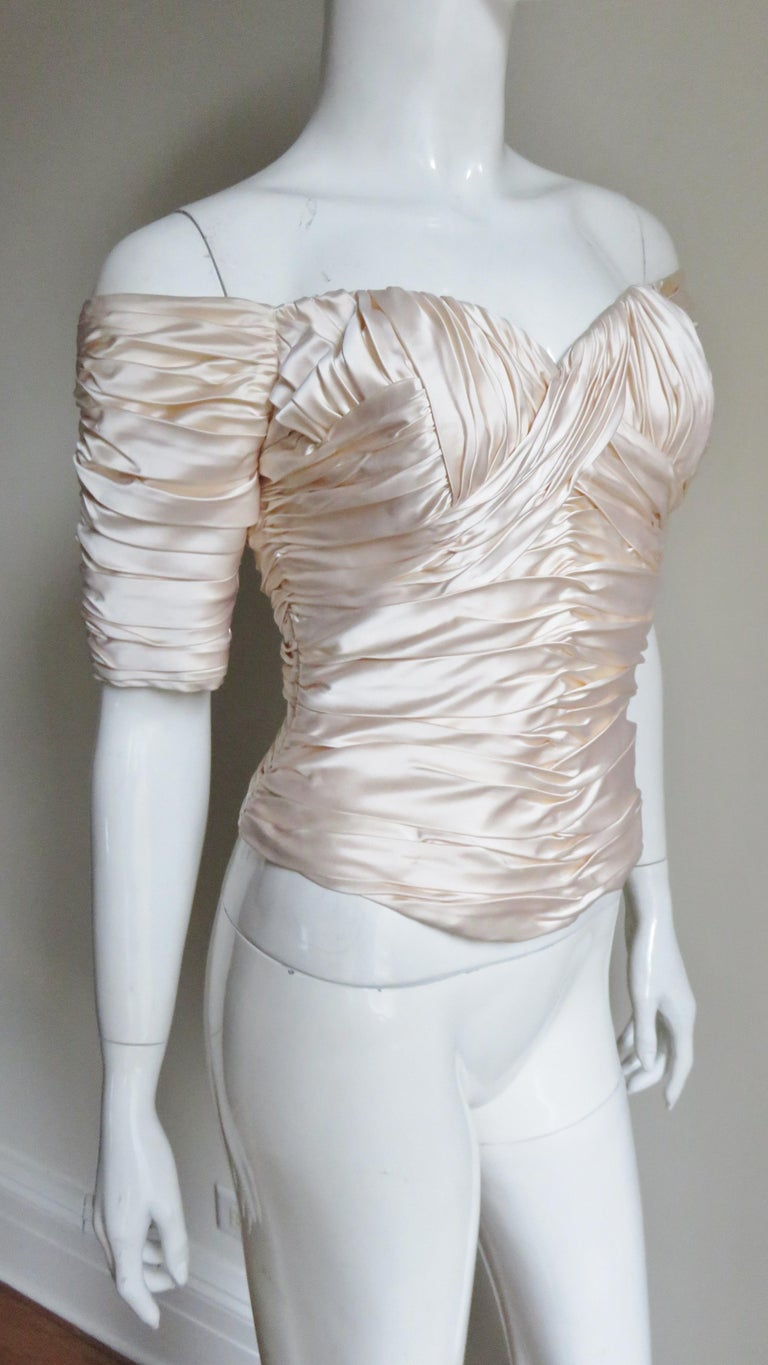 Vicky Tiel Couture Silk Ruched Corset Top  For Sale 3