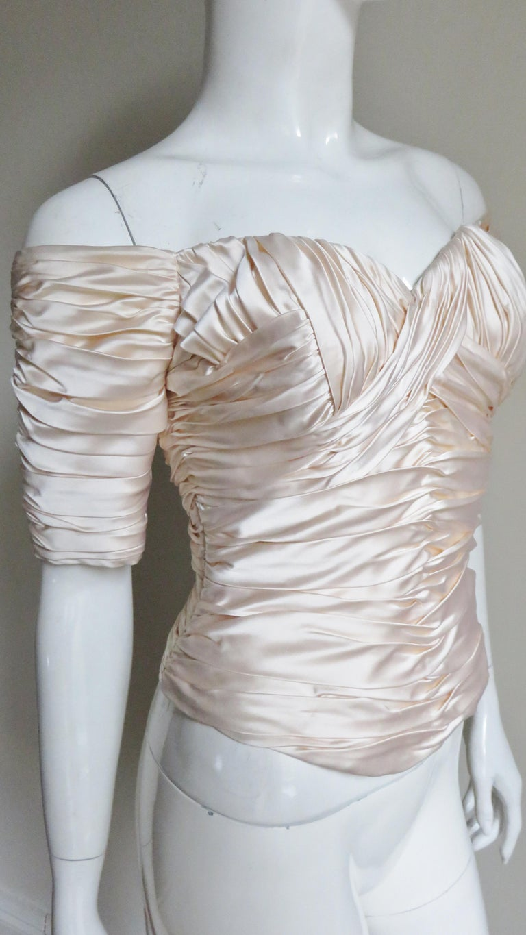 Vicky Tiel Couture Silk Ruched Corset Top  For Sale 4