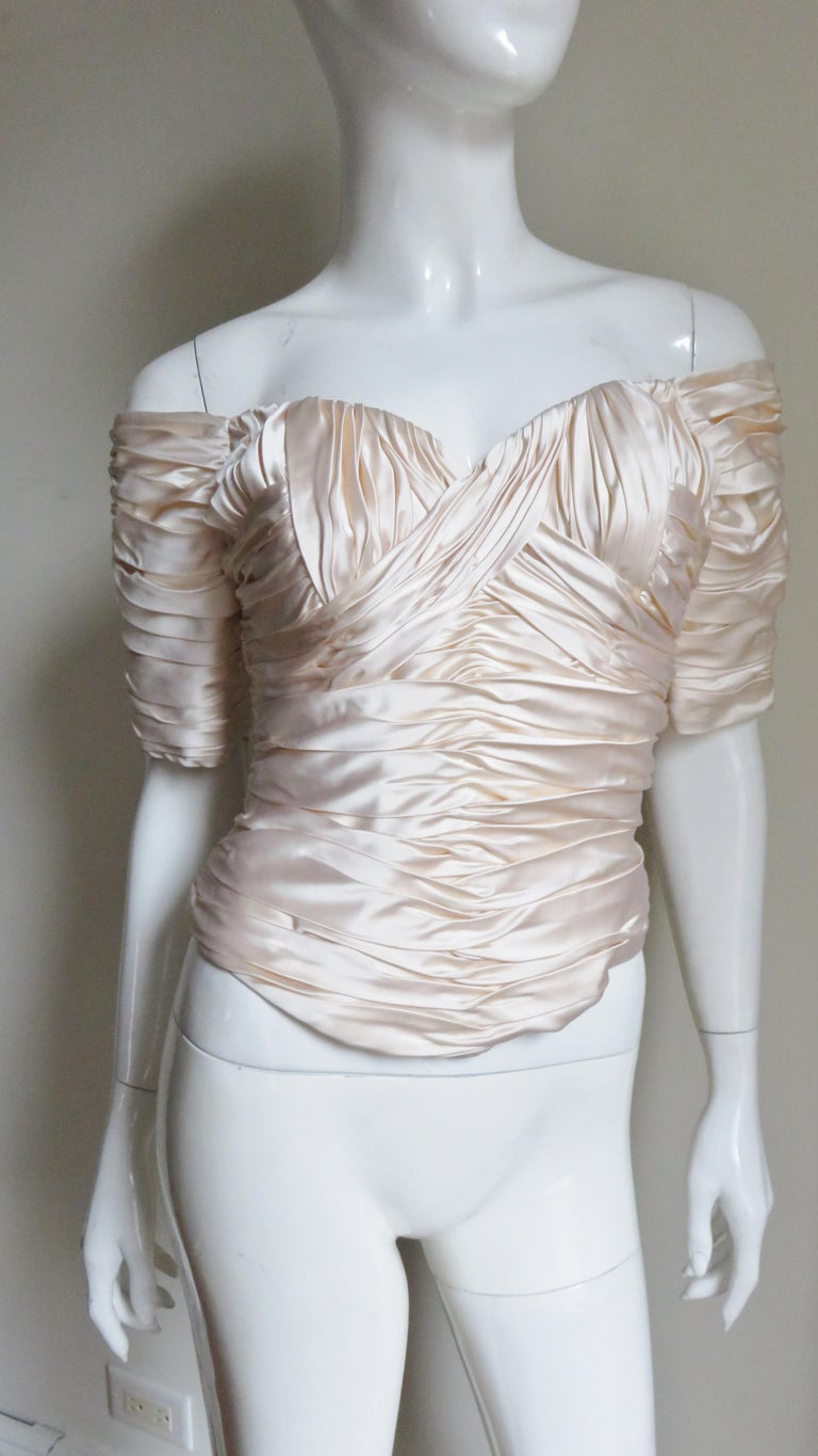 Vicky Tiel Couture Silk Ruched Corset Top  For Sale 5