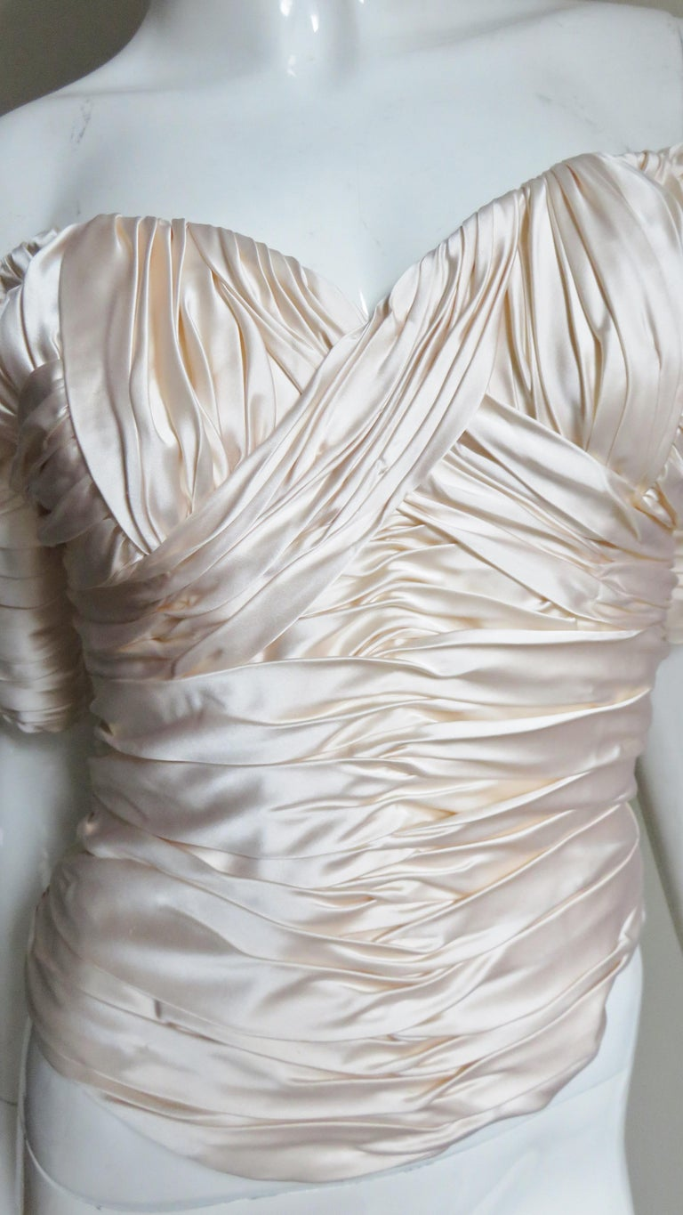 Women's  Vicky Tiel Couture Silk Ruched Corset Top  For Sale