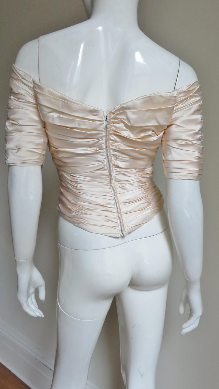 Vicky Tiel Couture Silk Ruched Corset Top  For Sale 6