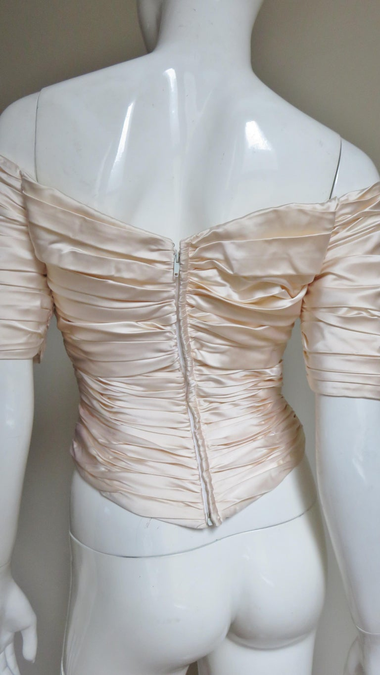 Vicky Tiel Couture Silk Ruched Corset Top  For Sale 7