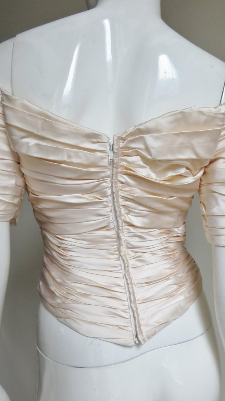 Vicky Tiel Couture Silk Ruched Corset Top  For Sale 8