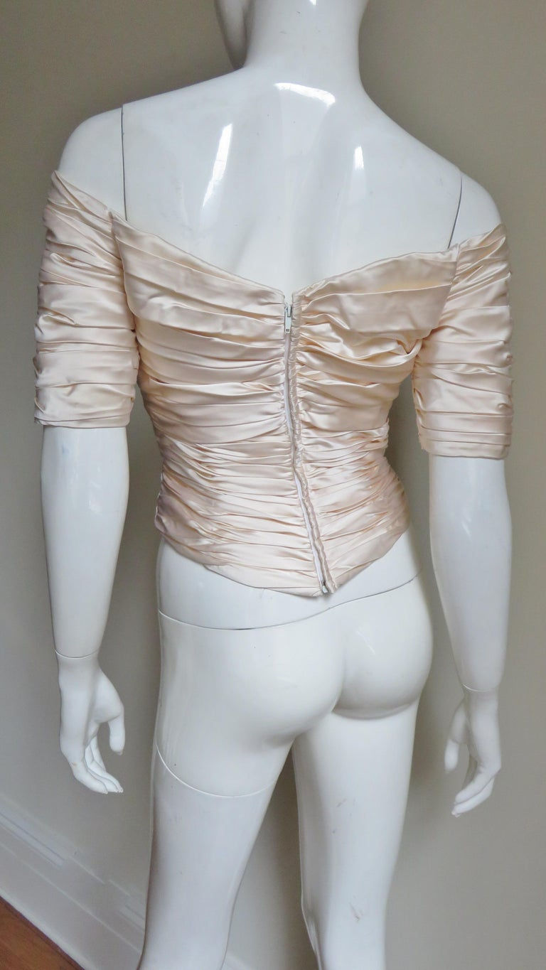 Vicky Tiel Couture Silk Ruched Corset Top  For Sale 9