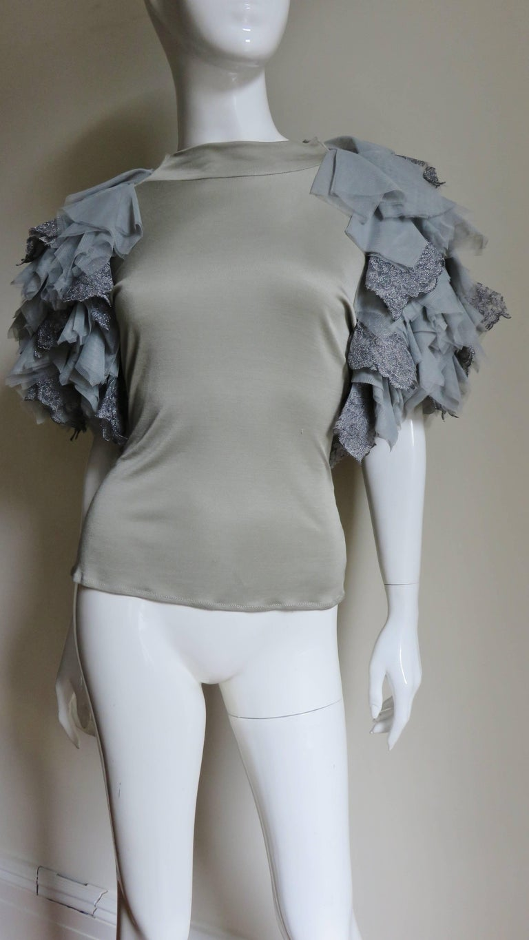 Gray Alexander McQueen Net Sleeve Silk Top 1999 For Sale