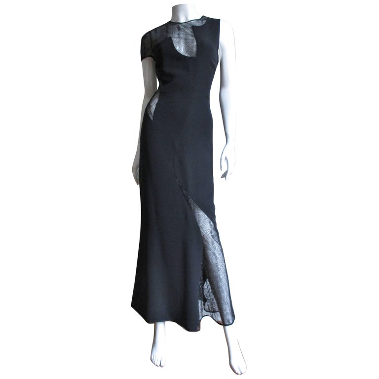 1990s Gianni Versace Asymmetric Gown with Lace Cutouts For Sale