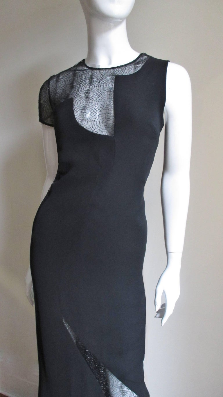 1990s Gianni Versace Asymmetric Gown with Lace Cutouts In Good Condition For Sale In New York, NY