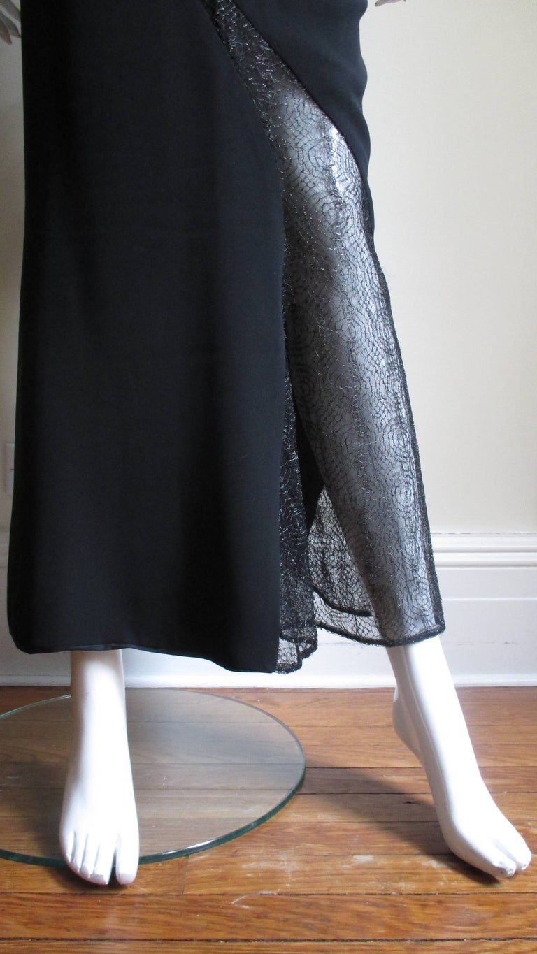 1990s Gianni Versace Asymmetric Gown with Lace Cutouts For Sale 2