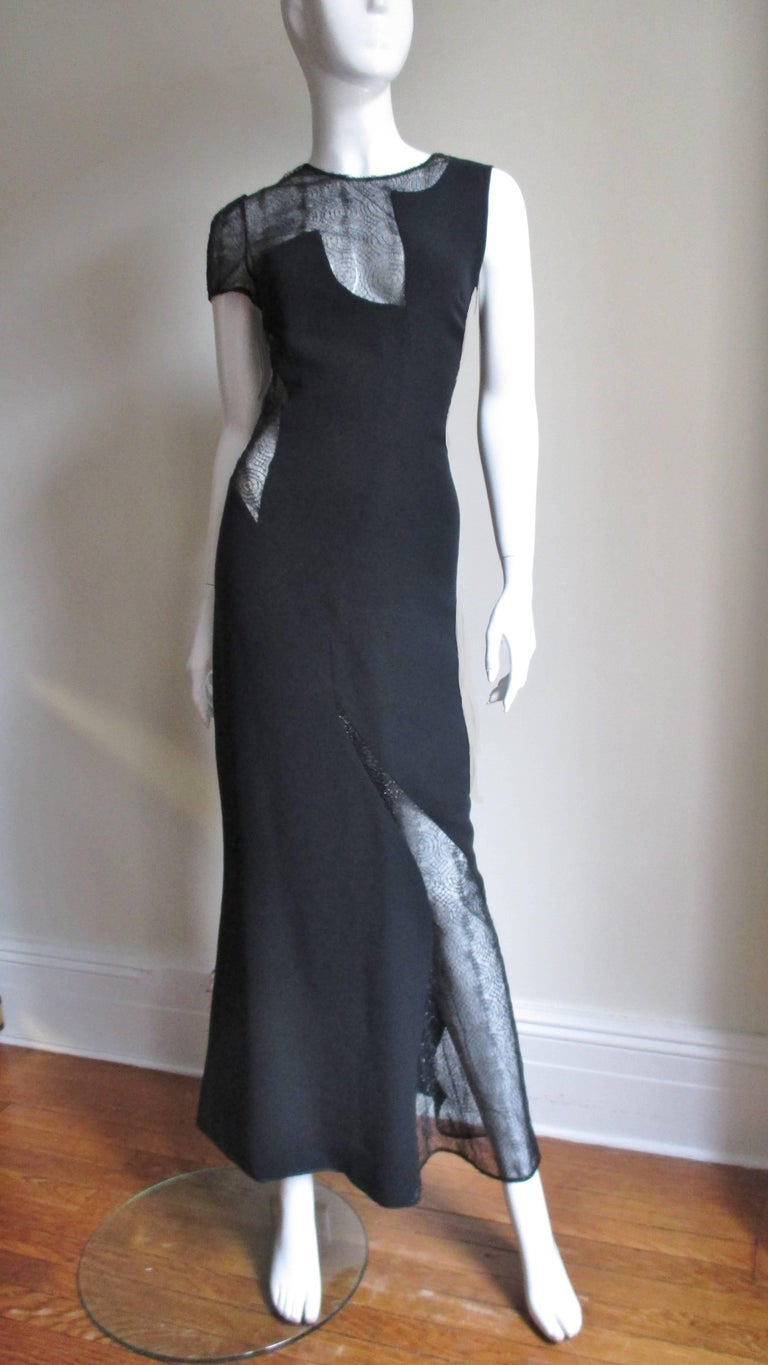 1990s Gianni Versace Asymmetric Gown with Lace Cutouts For Sale 3