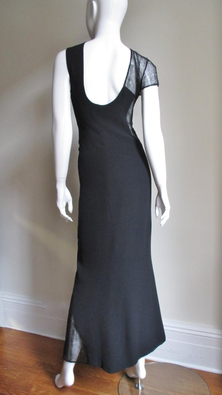 1990s Gianni Versace Asymmetric Gown with Lace Cutouts For Sale 5