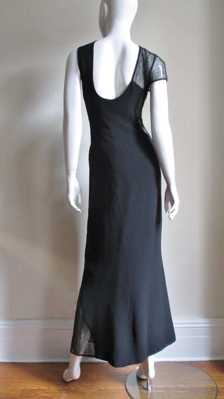 1990s Gianni Versace Asymmetric Gown with Lace Cutouts For Sale 9