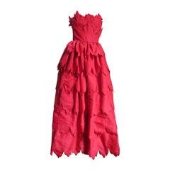 1970s Travilla Strapless Silk Gown