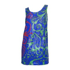 Versace Baroque Print Sequin Dress