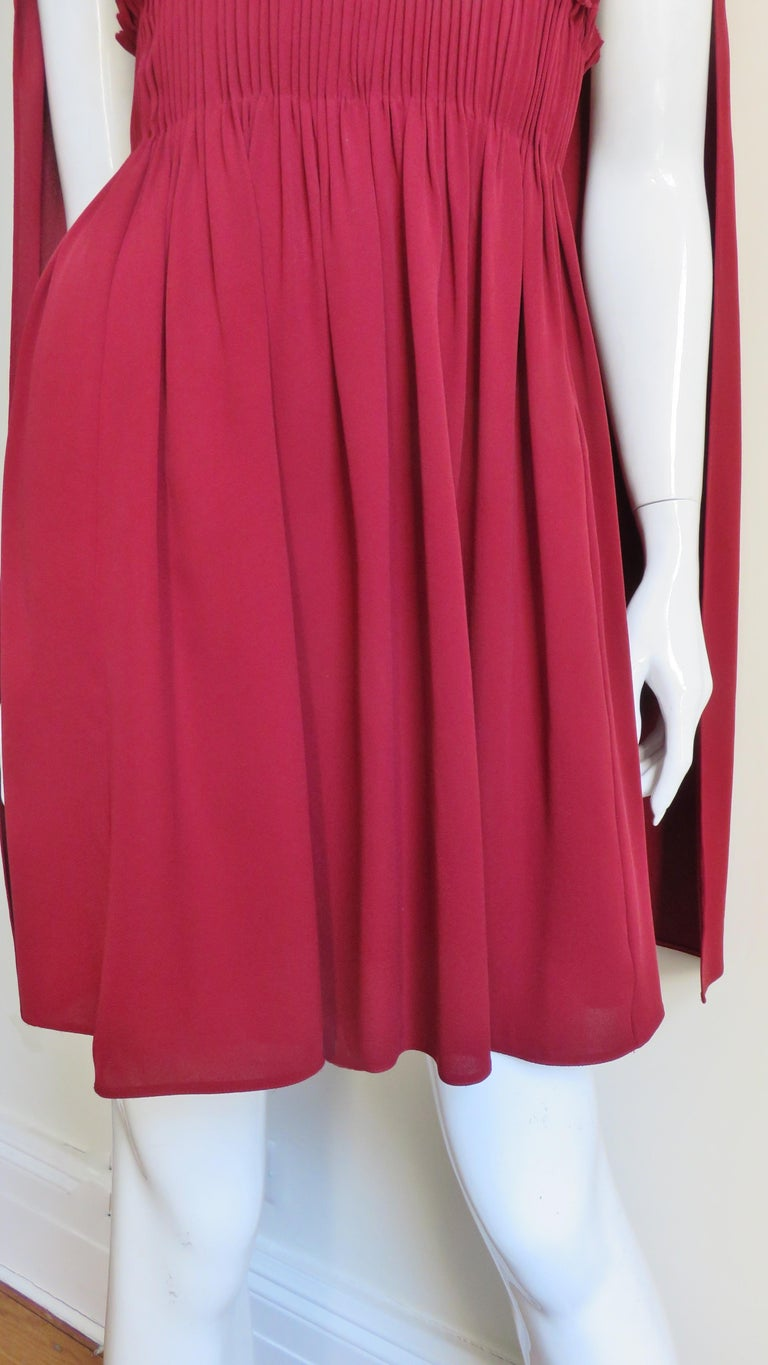 Valentino Silk Dress with Cape In Excellent Condition For Sale In New York, NY